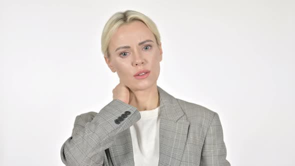 Thumbnail for Businesswoman with Neck Pain, White Background