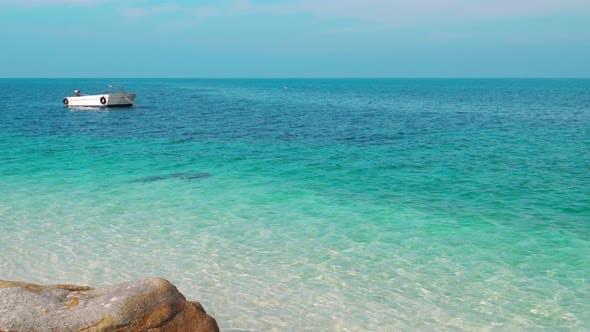 panning shot of sea beach at Koh MunNork Island, Rayong, Thailand