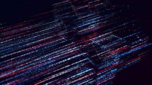 Lila und blaue abstrakte gepunktete Linien fliegen schnell