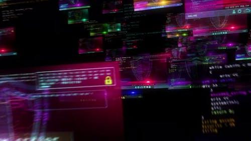 Cyber security shield symbol alert on screens