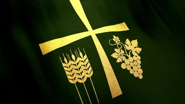 Holy Cross with Thanksgiving Symbols on Looped Green Cloth