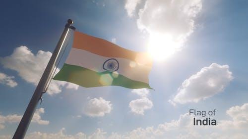India Flag on a Flagpole V2