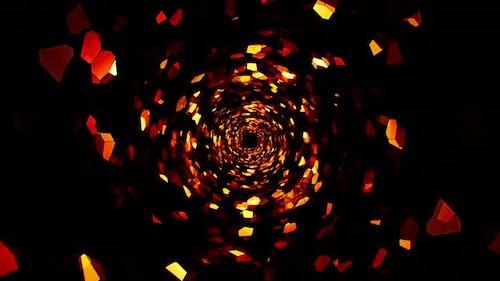 Fire Mosaic Swirl Tunnel Loop 4K
