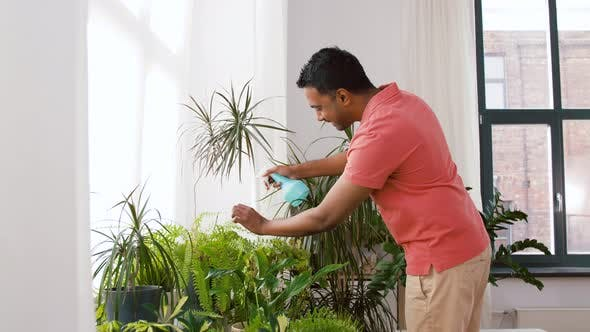 Cover Image for Indian Man Spraying Houseplant with Water at Home