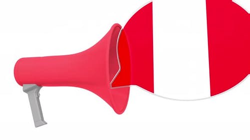 Megaphone and Flag of Peru on the Speech Bubble