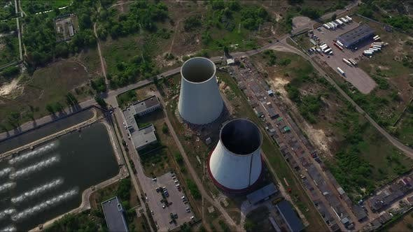 Thumbnail for Aerial View Pipe Thermal Power Plant. Industrial Chimneys on Hydro Power Station