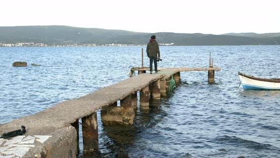 Thumbnail for Videographer Shooting Ocean Landscape