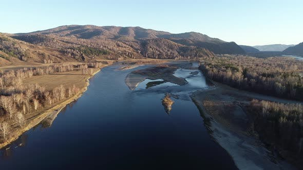 Thumbnail for Beautiful landscapes over the Siberian Abakan River in Khakassia