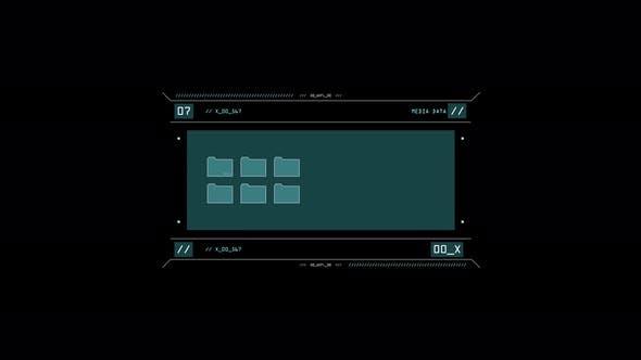 Thumbnail for Virtual Media Data on Screen Over Black Background