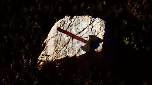 War Ax for Viking on the Rock at Sunset