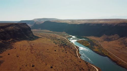 Aerial Drone View Snake River Canyon Idaho