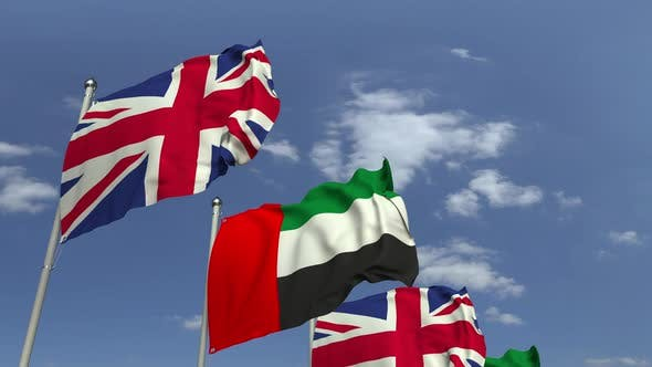 Flags of the UAE and the United Kingdom at International Meeting