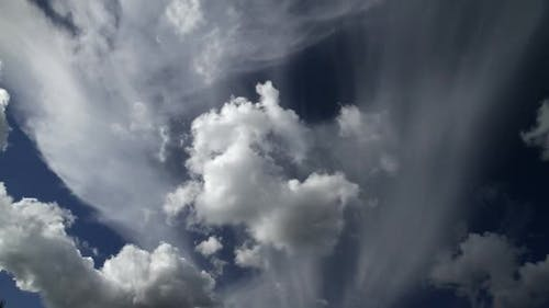 Cumulus clouds timelapse with blue sky.