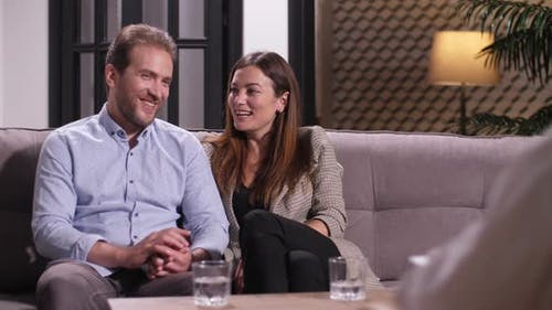 Cheerful Couple After Psychological Therapy