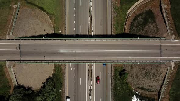 Thumbnail for Top Down View of Highway Intersection Car Bridge and Moving Cars