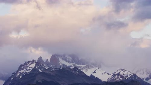 Still Clip of a Foggy and Cloudy Mountains of El Chalten in Argentina