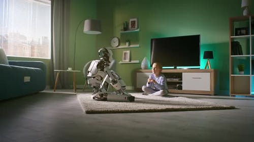 Girl Speaking with Robotic Friend at Home