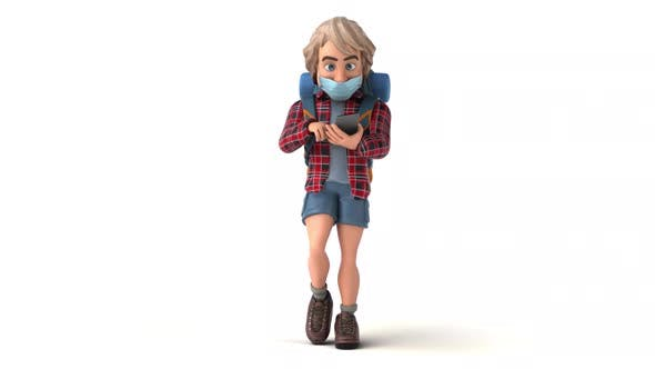 Fun 3D cartoon backpacker with a mask on the phone