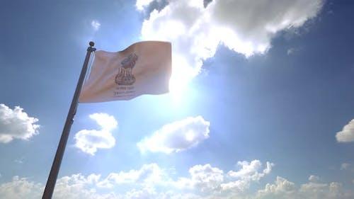 Gujarat Flag (India) on a Flagpole V4 - 4K