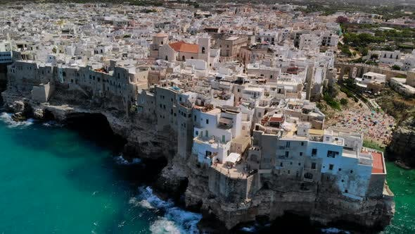 Flying Up Above Town of Polignano a Mare By Sea