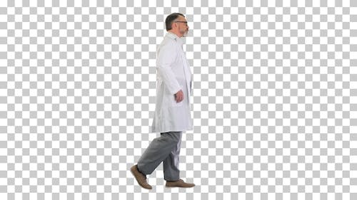 Mature doctor physician walking isolated, Alpha Channel