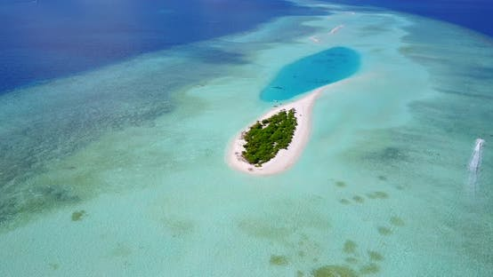 Thumbnail for Daytime aerial tourism shot of a white sandy paradise beach and aqua blue ocean background