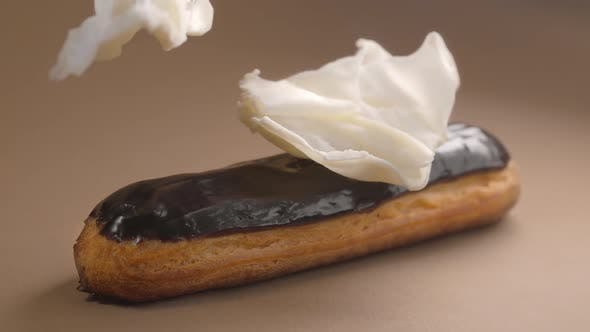 Thumbnail for Confectioner Adds White Chocolate Pieces To the Eclair, Making Dessert with White Chocolate, Sweet