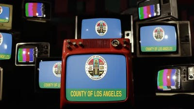 Flag of Los Angeles County, California, on Retro TVs.