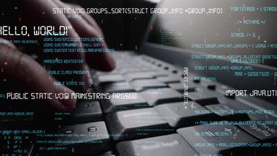 Creative visual of computer programming coding and software development