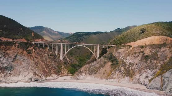 Thumbnail for Drone Flying Towards Iconic Bixby Creek Bridge at Highway 1 in Big Sur USA, Amazing Cinematic