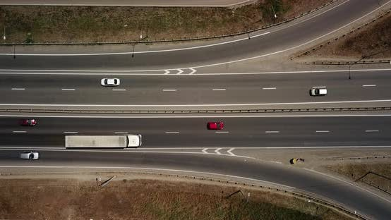 Thumbnail for Top Down View of Transport Junction, Traffic Cross Road Junction Day