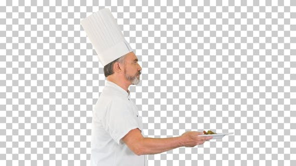 Thumbnail for Male chef white uniform running with a, Alpha Channel