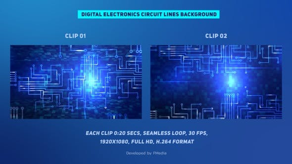 Digital Electronics Circuit Lines - 2 Clips