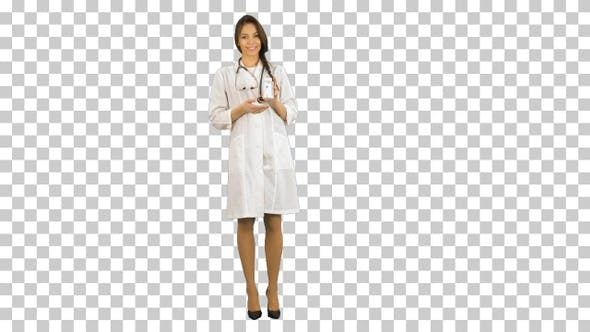 Thumbnail for Pretty female doctor describing and advertising, Alpha Channel