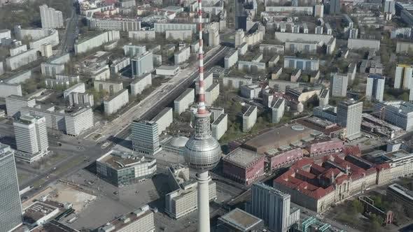 Thumbnail for AERIAL: Breathtaking Overhead Aerial Flight Over Alexander Platz TV Tower in Empty Berlin, Germany