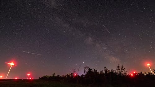 Amazing HDR Time Lapse  Footage of Milky Way and Airplane Landing