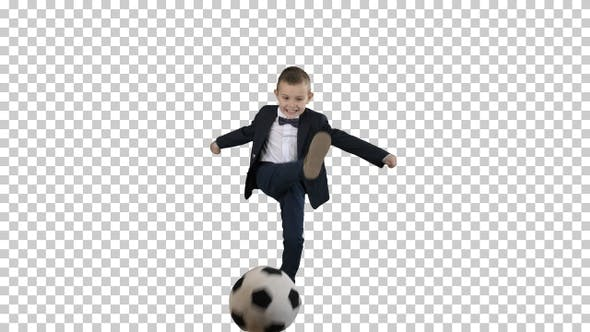 Thumbnail for Little Boy In Costume Shooting at Goal, Alpha Channel
