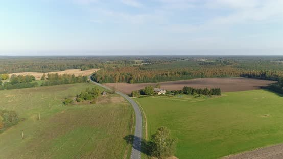 Thumbnail for Aerial Shot Of Cultivated Farmland In The Autumn