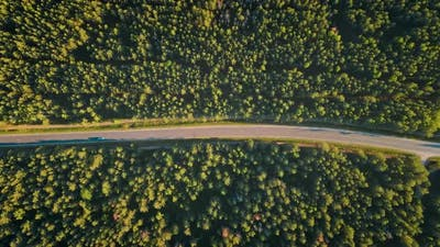 Aerial View of Car Driving on the Road at Sunset