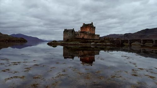 Castle in the Highlands of Scotland on a Cloudy Day