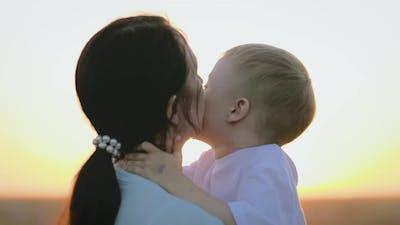 Happy Family Mom and Son
