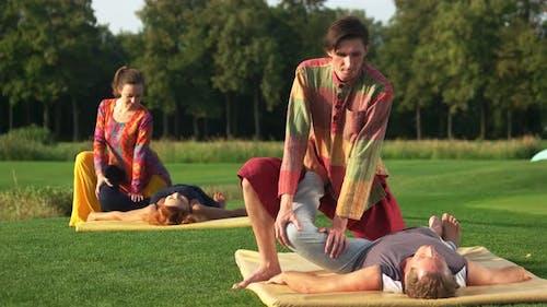 People Receiving Thai Massage Outdoor