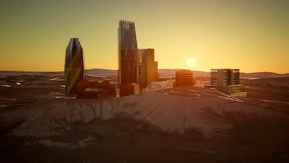 Thumbnail for City Skyscrapes in Desert at Sunset