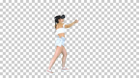 Thumbnail for Woman using VR Virtual Reality headset, Alpha Channel