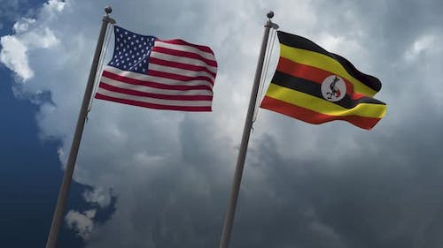 Waving Flags Of The United States And The Uganda 4K