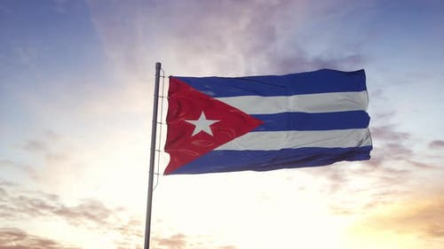 Cuba Flag Waving in the Wind Dramatic Sky Background