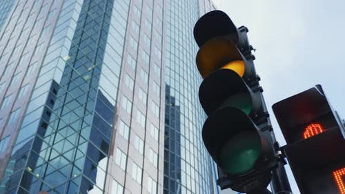 Traffic light in Downtown Montreal