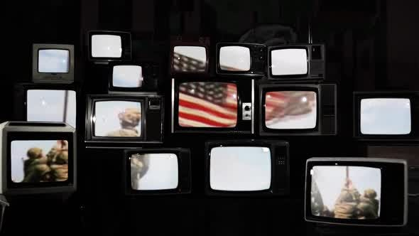 Raising US Flag in Iwo Jima and Retro TVs. Black and White Tone.