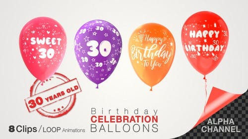30th Birthday Celebration Balloons / Thirty Years Old