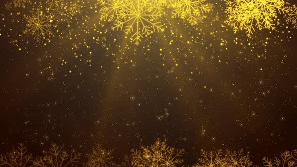 Thumbnail for Gold Snowflakes  Shiny Background 01